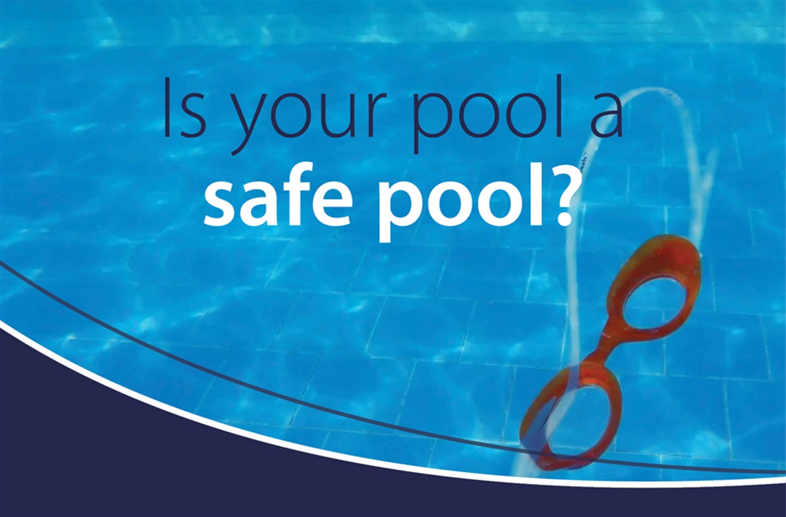 Image of swimming goggles in pool with text: Is your pool a safe pool?