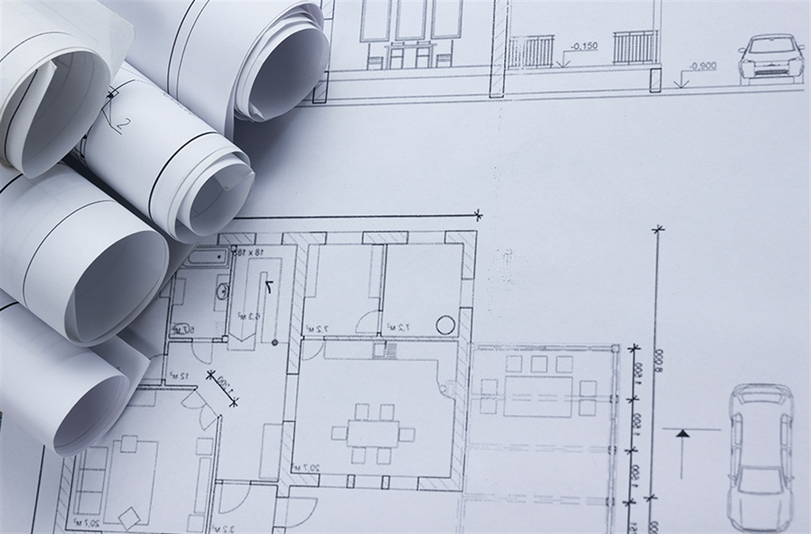 Close up of house plans on large format paper